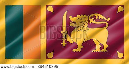 Real Size Waving Sri Lanka Flag Illustration. Rectangular Sri Lankan Waving Flag Is A Symbol Of Nati