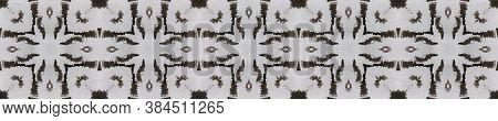 Tibetan Fabric. Repeat Tie Dye Ornament. Ikat Turkish Print. Abstract Shibori Print. Black, White, G