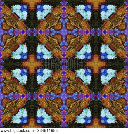 Geometric Rug Pattern. Abstract Ikat Print. Repeat Tie Dye Illustration. Ikat Russia Motif. Dark Neo