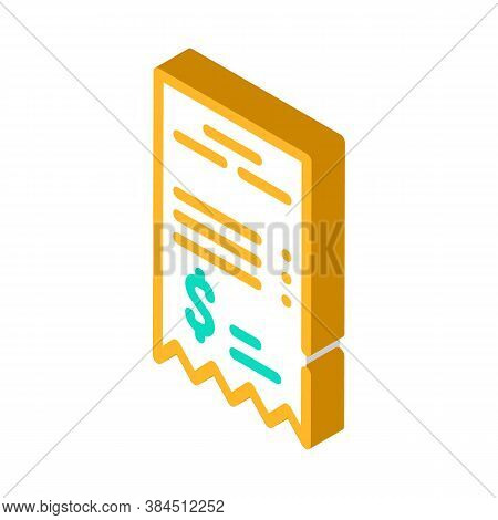 Betting Receipt Isometric Icon Vector Isolated Illustration