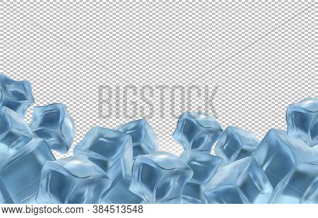 Frozen Ice Cubes On Transparent Background With Copy Space For Your Text. Realistic Ice Cubes Close