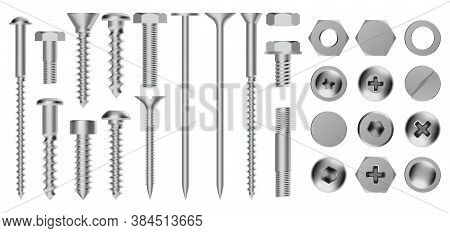 Realistic Metal Screws. Construction Steel Screw, Hex Cap Nuts, Rivets And Bolts, Drywall Metal Fast
