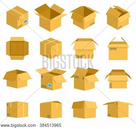 Cardboard Box. Carton Delivery Packaging Boxes, Open And Closed Cardboard Storage, Mail Postal Parce