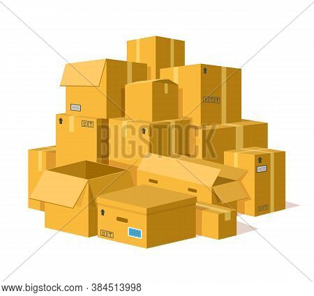 Cardboard Boxes Pile. Storage Delivery Cardboard Boxes Stack, Pile Of Postal Parcel Package, Carton