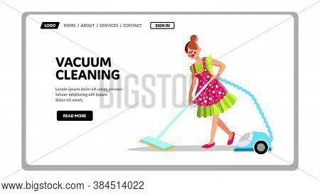 Vacuum Cleaning Equipment Housework Service Vector Illustration