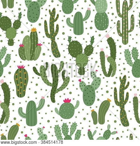 Cactus Pattern. Seamless Cactus Houseplant Pattern, Succulent Plants Wrapping Print, Cute Desert Cac