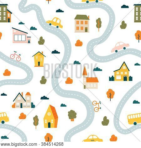 Town Map Pattern. Seamless Cute Urban Landscape Map, Minimalist Houses, Trees And Cars, Simple Hand