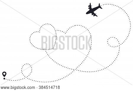 Love Airplane Route. Heart Dotted Route, Airline Destination Map, Romantic Plane Routes Line, Hearte