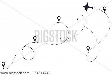 Airplane Route Line. Plane Dotted Route, Airplane Destination Track, Plane Traveling Destination Pat