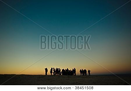 Group of tourists over Saint Vicent cliifs