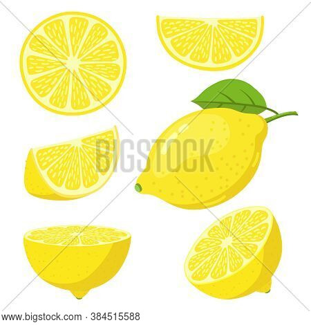 Lemon Slices. Citrus Fruit Slice, Juicy Yellow Lemons, Sliced Fresh Lemons, Vitamin C Vegetarian Rip
