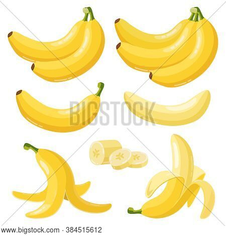 Cartoon Bananas. Tropical Yellow Fruit, Peeled Banana And Bunch Of Ripe Bananas, Vegetarian Fresh Fr