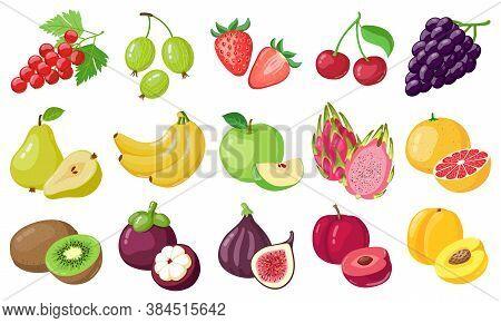 Cartoon Fruits. Tropical Fruit, Banana, Fig, Apple And Dragon Fruit, Citrus And Berries, Vegetarian
