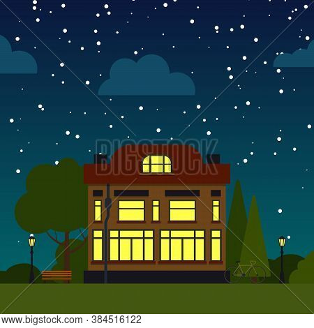 Single House Night Street Flat Cartoon Square Banner. Urban Small Town Landscape With Trees, Bush, C