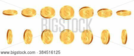 Realistic Gold Coins. Golden Shiny Cash Coin, Jackpot Coin Dollar Animation, Gold 3d Treasure Prize,