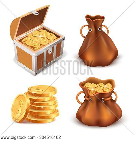 Realistic Golden Treasure. Coins Stack, Wooden Treasure Chest And Canvas Sack Full Of Gold Coins, Sh