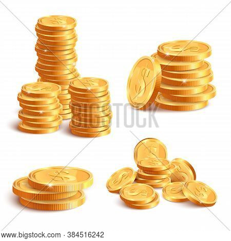 Realistic Coins Pile. Golden Coin Dollar Stack, 3d Jackpot Coins, Gold Treasure Prize, Cash Coin Pil
