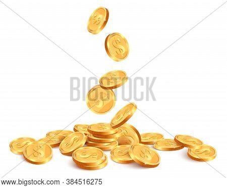 Realistic Falling Coins. Golden Coin Falling Down, 3d Gold Jackpot Rain, Casino Shiny Falling Cash M