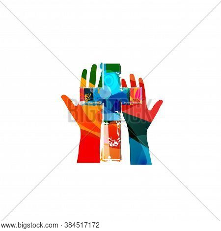 Colorful Christian Cross With Human Hands Isolated Vector Illustration. Religion Themed Background.