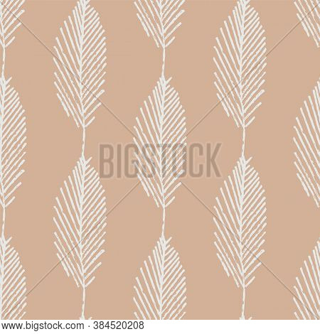 Mono Print Style Leaves Seamless Vector Pattern Background. Vertical Columns Of Simple White Lino Cu