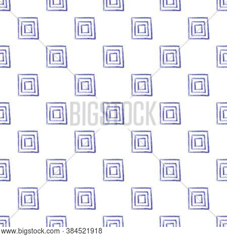 Seamless Ethnic Tribal Watercolor Pattern From Blue Hand Drawn Squares On White Background. Folk Mot