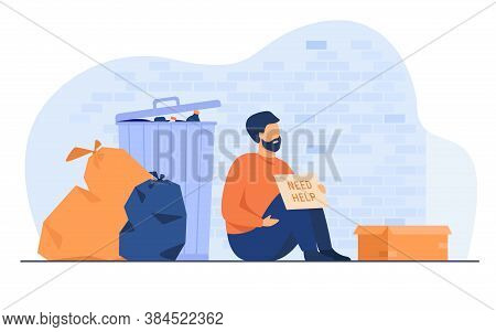 Homeless Dirty Man Sitting On Ground With Nameplate Need Help Isolated Flat Vector Illustration. Car