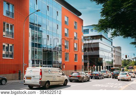 Luxembourg, Luxembourg - June 17, 2015: Traffic Near Building Of The Germany Embassy In Luxembourg