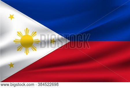 The Flag Of The State Of The Philippines Flutters In The Wind. 10 Eps
