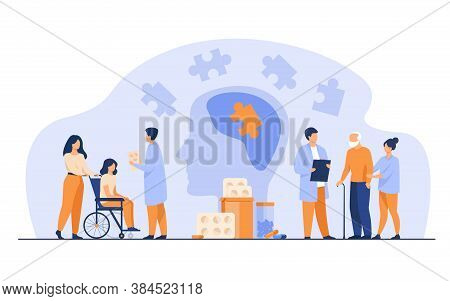 Senior Patient Medical Rehabilitation Flat Vector Illustration. Cartoon Doctors Giving Treatment To