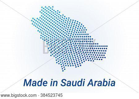 Map Icon Of Saudi Arabia. Vector Logo Illustration With Text Made In Saudi Arabia. Blue Halftone Dot
