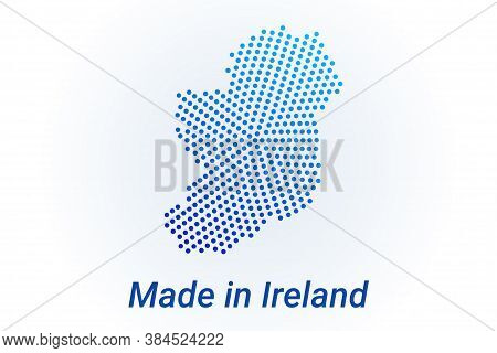 Map Icon Of Ireland. Vector Logo Illustration With Text Made In Ireland. Blue Halftone Dots Backgrou
