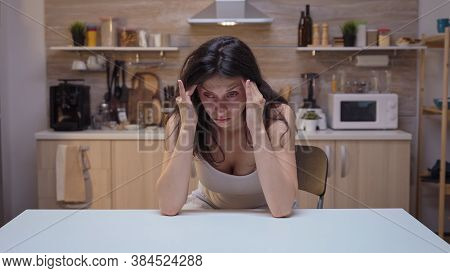Depresed Young Woman Having Headache. Stressed Tired Unhappy Ill Worried Unwell Housewife Suffering
