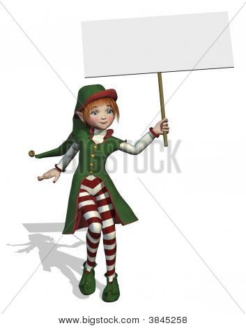 Santa\'S Elf Holding A Blank Sign