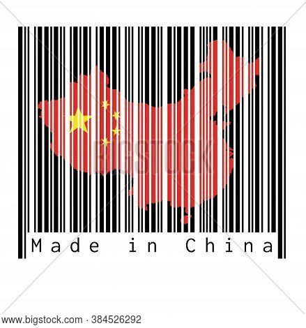 Barcode Set The Shape To China Map Outline And The Color Of China Flag On Black Barcode With White B