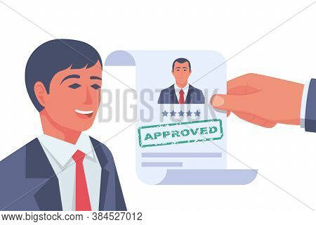 Approved Stamp In The Hands Of A Headhunter. Approved Employment Document. Happy Businessman Rejoice