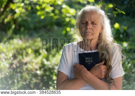 Gray-haired Grandmother Holds Bible In Her Hands. Reading The Holy Bible In A Nature. Concept For Fa