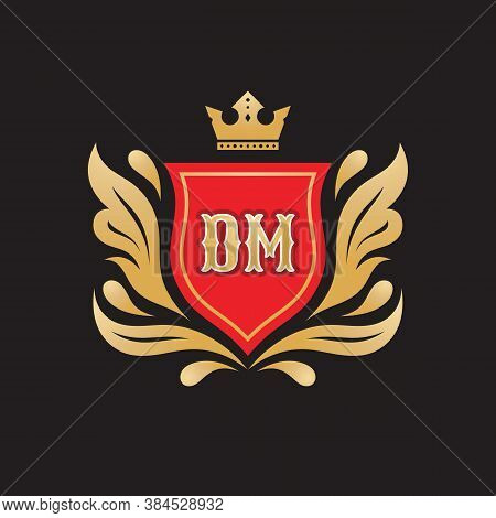 Monogram D & M Initial Letters - Concept Logo Template Design. Crest Heraldic Luxury Emblem. Red Shi
