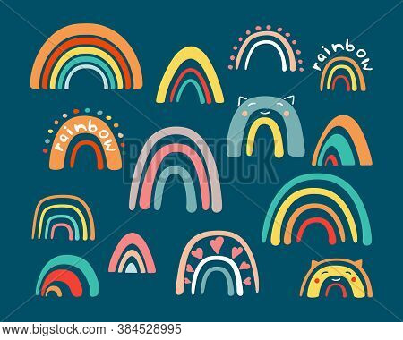 Doodle Childrens Rainbow Set. Abstract Colored Half Rings Modern Creative Textures Handdrawn In Grap