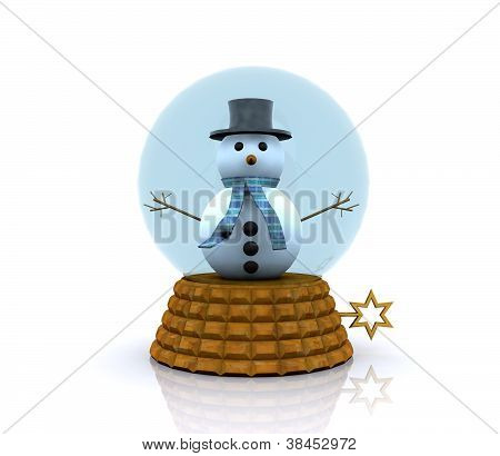 Glass ball with Snowman - 3D