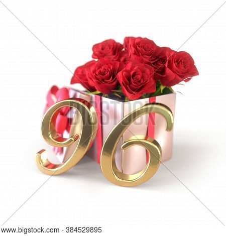 Birthday Concept With Red Roses In Gift Isolated On White Background. Ninety-sixth. 96th. 3d Render