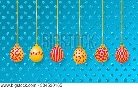 Happy Easter Greeting Card. Hanging Easter Eggs On The Embossed Background. Vector Illustration Eps1