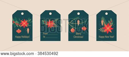 Christmas Greeting Tags Set. Winter Festive Colorful Xmas Labels With Holly, Laurel, Mistletoe, Flow