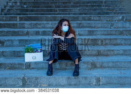 Sad Woman In Face Mask With Office Box Feeling Hopeless After Losing Job Due To Coronavirus Job Cuts