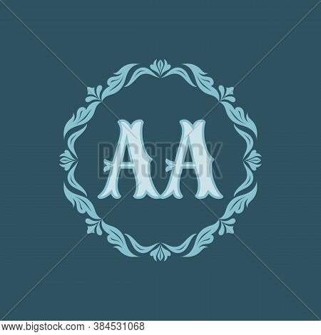 Monogram Aa Letters - Concept Logo Template Design. Crest Heraldic Luxury Emblem. Initial A & A. Orn