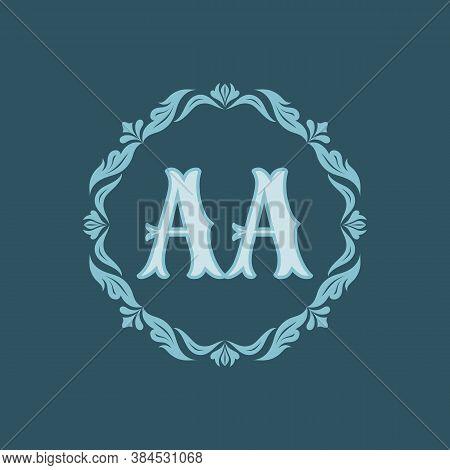 Monogram Aa Letters - Concept Logo Template Design. Crest Heraldic Luxury Emblem. Initial A & A. Orn