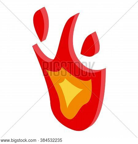 Blazing Fire Flame Icon. Isometric Of Blazing Fire Flame Vector Icon For Web Design Isolated On Whit