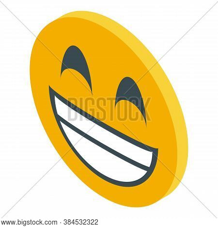 Laughing Emoji Icon. Isometric Of Laughing Emoji Vector Icon For Web Design Isolated On White Backgr