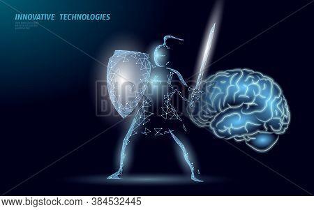 Brain Treatment Protection Knight 3d Render. Drug Nootropic Human Ability Stimulant Smart Mental Hea