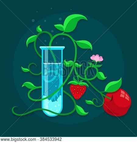 GMO genetically modified foods growing in test-tube. 3D illustration.