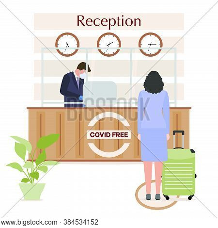 Vector Illustration Reopening Of Hotel Hostel Guesthouse Lobby After Covid-19 Quarantine. Person Wit
